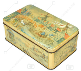 Vintage rechteckige Blechdose mit einer Dekoration der Zaanse Schans