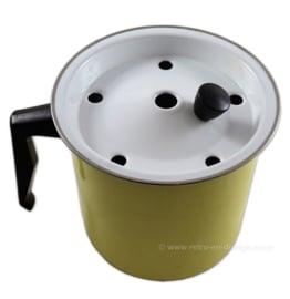 Brocante/antique enamel yellow milk boiler or cooker from the 1950s - 1960s