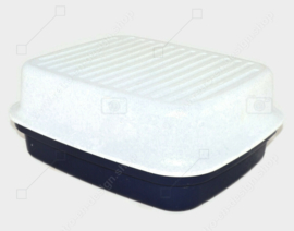 Vintage Tupperware bread box or baker's box speckled blue / white