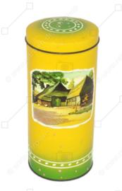Boîte à biscottes vintage jaune-vert fabriquée par Bosscher Rusk Zuidwolde