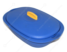 Tupperware Legacy Vegetable Server - serving bowl in blue with yellow handle from 1998