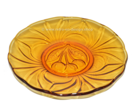 Amber colored vintage pastry plates with cherry image