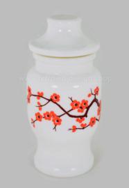 Witte vintage opaline glazen pot met oranje kersenbloesem, Ariel