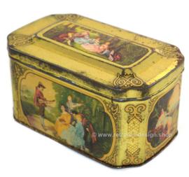 Blikken doosje met romantische taferelen voor De Gruyter goudmerk thee