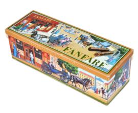 Lata rectangular vintage nostálgica para chocolate Fanfare
