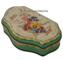Vintage/Brocante theeblik van de Gruijter met lentebloemen, mintgroen
