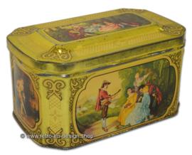 Vintage blikken doosje met romantische taferelen voor De Gruyter goudmerk thee