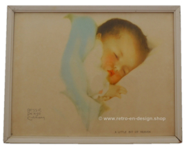 Illustration A little bit of heaven, Bessie Pease Gutmann in a white wooden frame