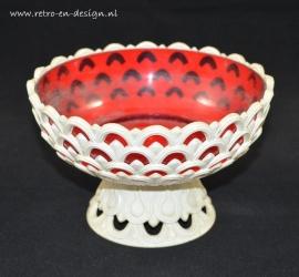 Emsa schaal / vaas in wit met rood