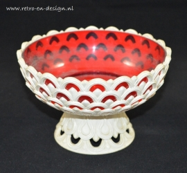 Emsa Vase, plastique rouge/blanc