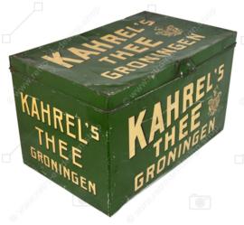 Brocante - lata de mostrador de tienda vintage o lata de comestibles de Thee Groningen de Kahre