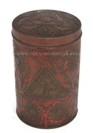Bote de estaño rojo con motivo floral en relieve para cacao en polvo de EJO
