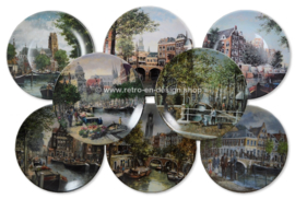 Royal Mosa - 8 wall plates series 'Canals of Holland', painted by Koos van Loon