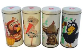 Set van vier vintage Bolletje blikken , De Fabeltjeskrant