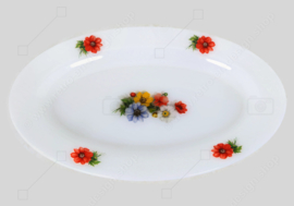 """Vintage oval serving dish with flower pattern """"Anemones"""" by Arcopal France"""