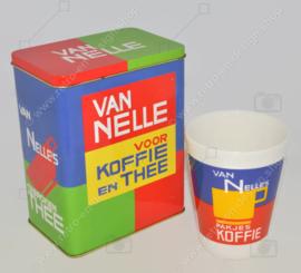 Boîte à café et thé Van Nelle avec tasse en faïence conique assortie