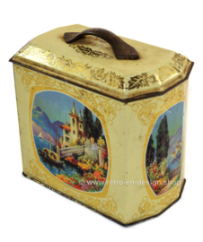 Vintage tin with romantic scenes and lid with handle