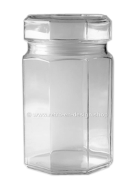 Glass storage jar with end cap made by Arcoroc France, Octime clear