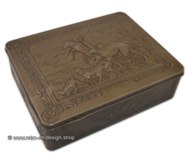 Large vintage tin box with a hunting scene