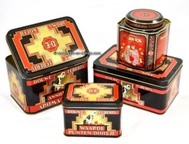 Set of four Douwe Egberts tins for coffee and tea