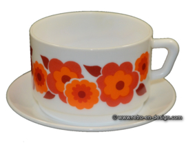 Arcopal Lotus Soup bowl and saucer, orange - red