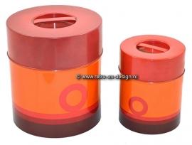 Orange set of vintage sixties tins