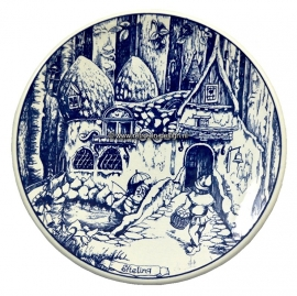 Decorative plate Delfts Blue crockery.  Efteling, The Dwarf House