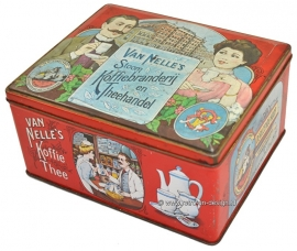 Vintage tin Van Nelle's stoom Koffiebranderij en Theehandel
