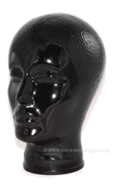 Vintage black glass head from the 1970s