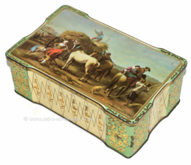 Vintage cookie or biscuit tin with haying scene and horses