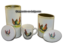 Vintage tin, container and cup made by JET 'Chicken Festival""