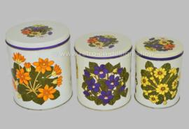 Conjunto vintage de tres latas encajables con decoración floral