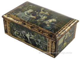Vintage tin drum with paintings of Old Masters
