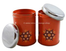 Set oranje vintage Brabantia blikken voor thee en suiker, sterpatroon