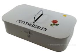 Vintage Putzdose oder Polierbox von Brabantia in Weiß mit Rose