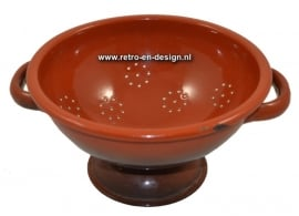 Enamel colander in brown, bric-a-brac