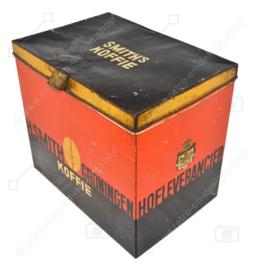 Grande boîte de comptoir de magasin vintage, H. Smith Koffie Groningen Hofleverancier