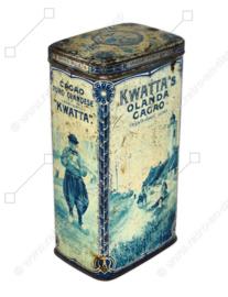 Boîte vintage rectangulaire pour 1 kg de cacao KWATTA avec un tableau de carreaux bleu de Delft représentant un village de pêcheurs