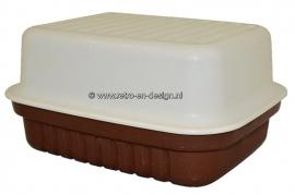 Retro Tupperware Boîte de fromage, brun / blanc