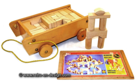 SISO wooden toy cart with blocks