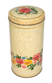 Cream-colored biscuit or rusk tin with flowers and crackle motif by VERKADE.