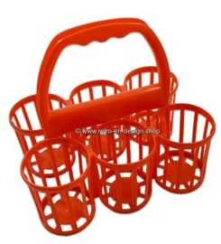 Vintage orange plastic Curver bottle holder, carrier