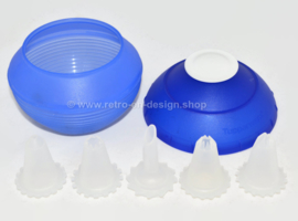 Blue vintage Tupperware Icing Ball with five nozzles