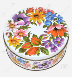 Vintage round ARK biscuit tin with floral decor