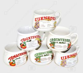 Vintage jaren 70 aardewerk soepkommen met oor voor tomaten-, groente- en uiensoep. Set van zes