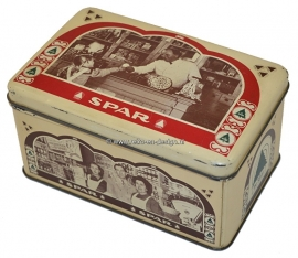 Vintage beige tin by De Spar with red and green details