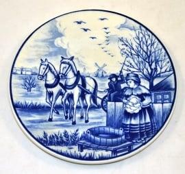 Delftsblauw bord de vier jaargetijden 'Lente' (schoonmaak)