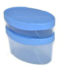 Set von zwei Vintage Tupperware Expressions Aufbewahrungsbehältern in hellblau und transparent