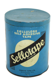 Vintage blue English tin canister by Sellotape