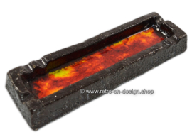 Vintage earthenware lava ashtray in red, orange, yellow glaze